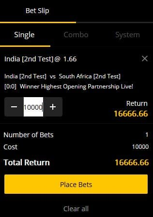 Cricket Bet Selection